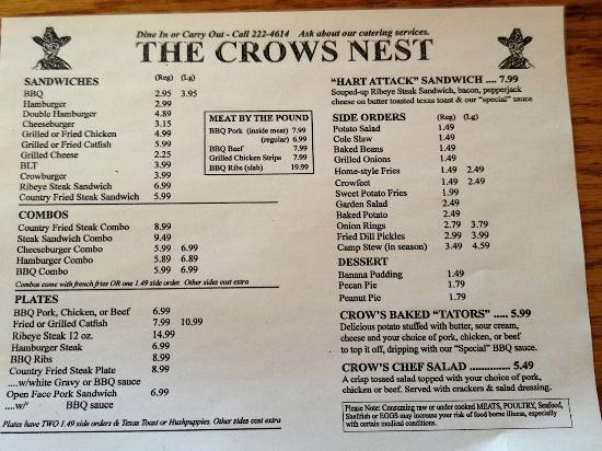The Crow's Nest: The Menu