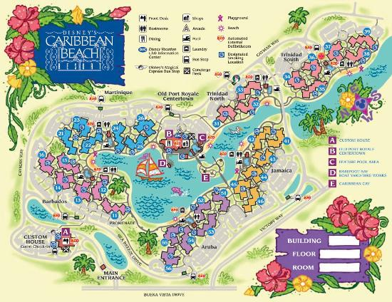Disney S Caribbean Beach Resort Map Of