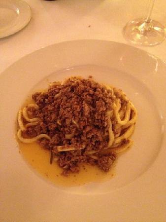 Osteria Il Granaio : pici ragu cinta senese