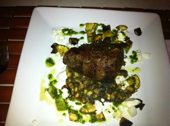Ginger Special: steak served with fresh huitlacoche, crimini mushrooms, corn, zuccini & goat che