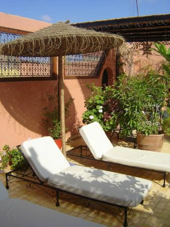 Riad Atlas Guest House: sunloungers on rooftop