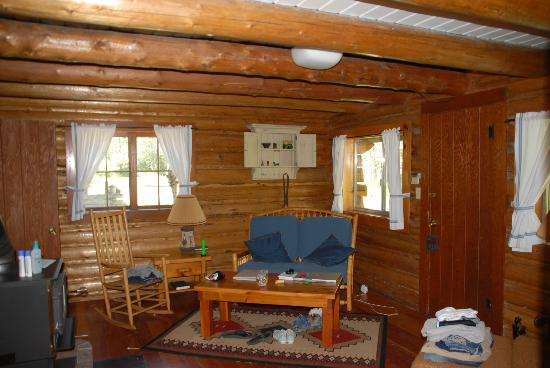 R Lazy S Ranch: the living room of the cabin
