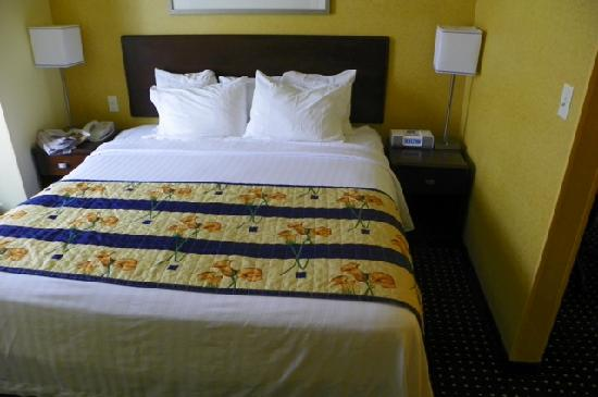 SpringHill Suites Portland Vancouver: five wimpy pillows on bed