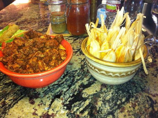 Jane Butel Cooking School: pork adobado and tamales