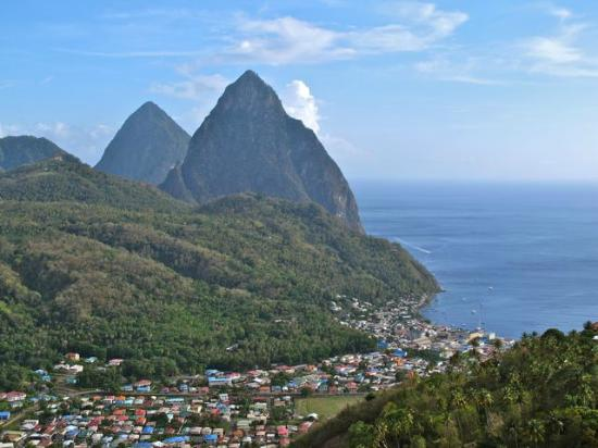 The Mango Tree: Both Pitons with town from coast road
