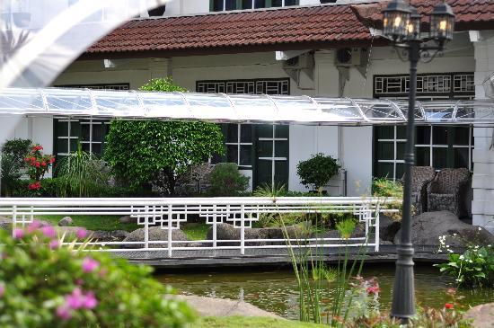 Hotel Merdeka : across the fish pond bridge