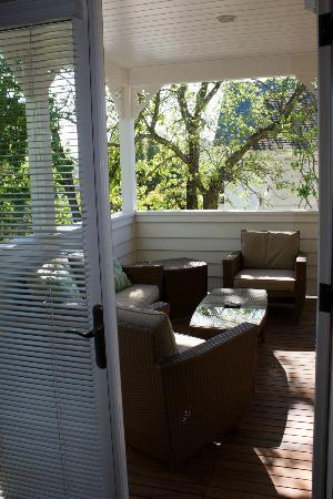 Auberge Sonoma: view of porch from back bedroom in suite 155