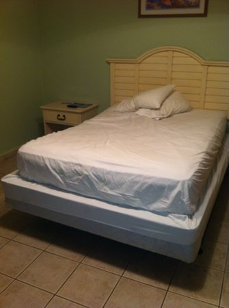 Queen box spring with a full size mattress. They told us this is a