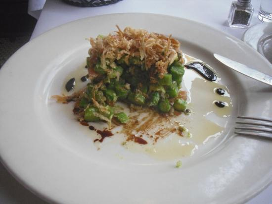 Metropolis Cafe: Asparagus Tartare with Avocado, Tomato, Minced Capers, Aged Balsamic, and Fried Leeks