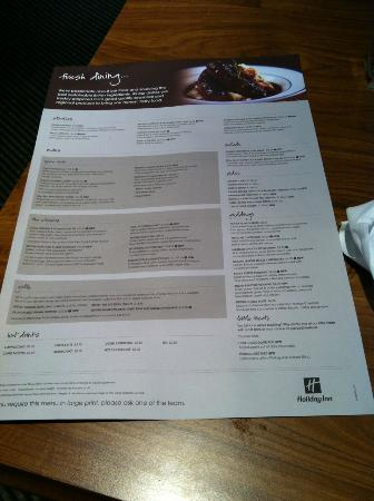 Holiday Inn Basildon: Meal Menu