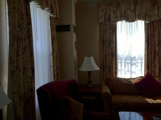 Hawthorne Hotel: One-Bedroom Suite - Parlor Area (large, screened windows to welcome fresh breezes and light)