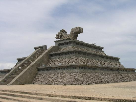 Coatzacoalcos, México: Replica of a pyramid by the beach