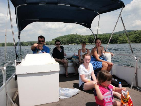 The Lake House: group on the pontoon boat