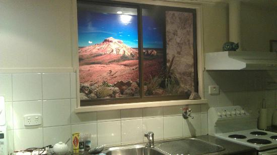 Underground Bed & Breakfast: View from the kitchen. Very creative, Ken