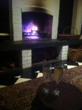 Old Church Restaurant: Sitting by the log fire