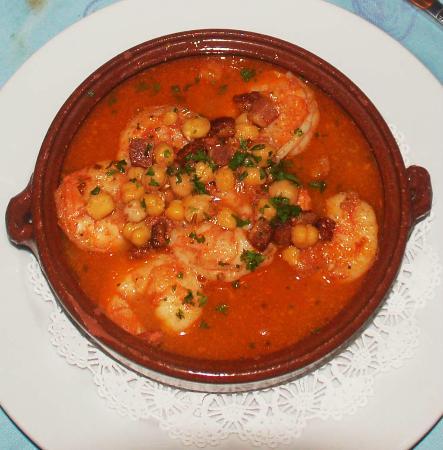 The Panamonte Restaurant: Grilled Langoustino, lardon, garbanzo dish.