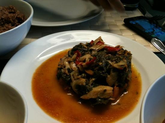 O-Tower Caribbean Cuisine: salt fish and calaloo