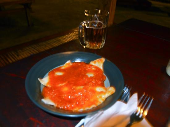 Biba Beach Cafe - Ristorante Italiano: Ravioli with arrabiata sauce (with Lombok chillies) at Biba Pizza Cafe on Gili Air, Indonesia.