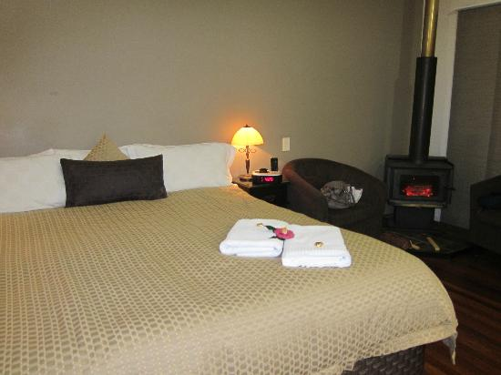 Maleny Views Cottage Resort: Room with log fire