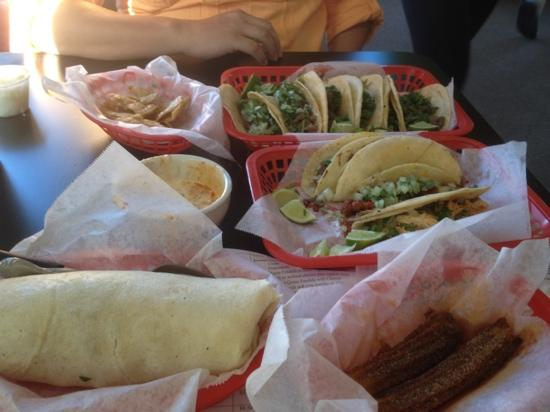 Tia Cori's Tacos: 5 de mayo meal! tacos, burrito, burnt churros and chips with dip!