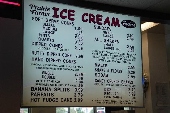 Parker's Drive-In Restaurant : Menu At Parkers