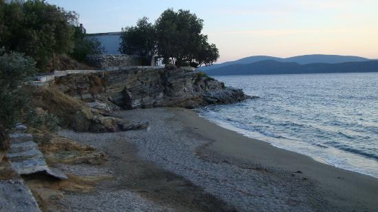 Evia Hotel & Suites: The beach on the opposite side of the port