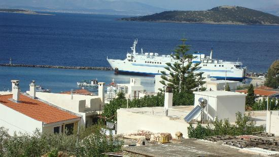 Evia Hotel & Suites: View of the port (zooming) from our room