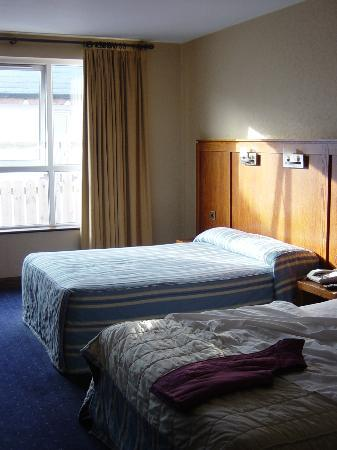 Mount Errigal Hotel : Looking from door area to the window and one double bed