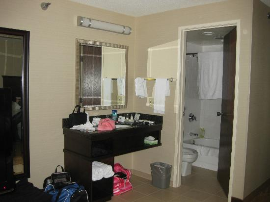 Kahler Inn and Suites: Bathroom area (excuse the mess!)