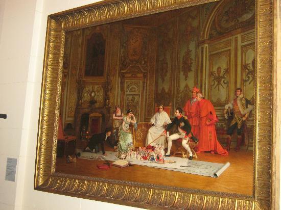 Museo Napoleonico: Pintura ensayo de la coronación de Napoleón(ojo a la cara del Papa)