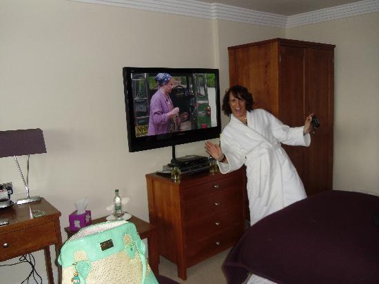 Number One South Beach : Lisa excited as TV was at end of her bed.