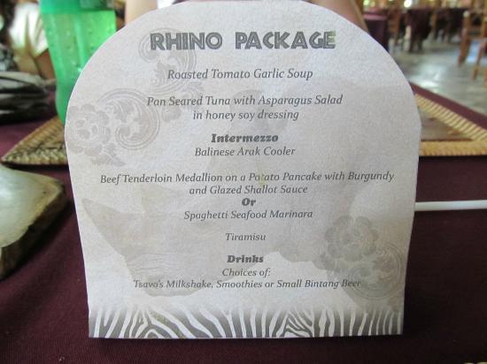 Bali Safari And Marine Park Restaurant Menu