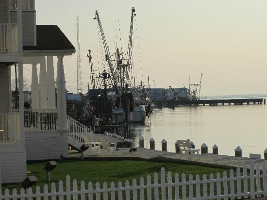 Comfort Suites Chincoteague: View of the dock from ground floor room