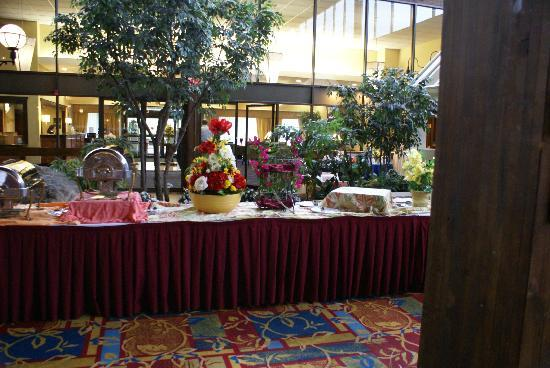 Boxboro Regency Hotel & Conference Center: Buffet line set up in the Atrium