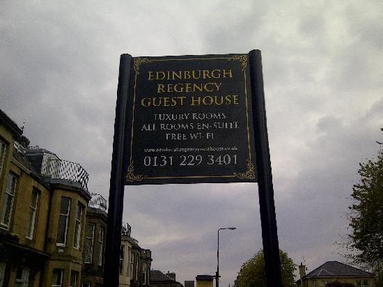 Edinburgh Regency Guest House: Front Sign