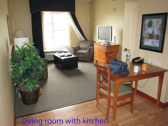 Homewood Suites by Hilton Ithaca: The living room.  Roomy & has a flat screen TV