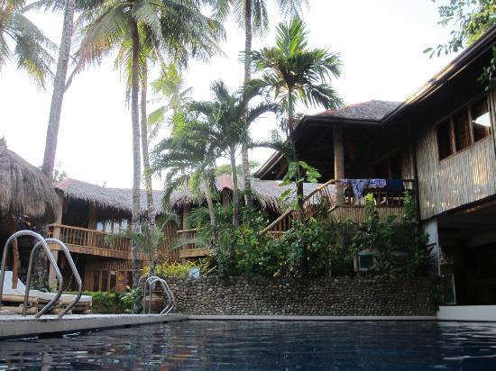 Fridays Boracay Resort: Pool area and elevated rooms
