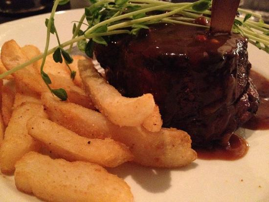 Aussie Beef Steakhouse: Rib fillet, pepper sauce and chips.  Cooked to perfection.