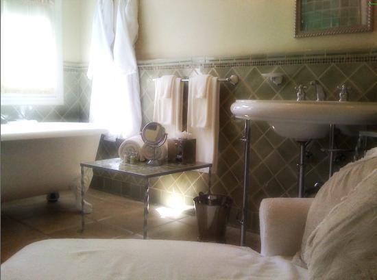 The Willows : Claw foot tub and 2 person shower in the Marion Davies bathroom