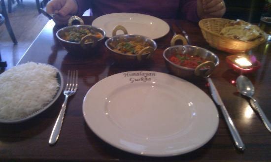 Manakamana Gurkha: Main course, included a side dish - we chose the mushroom one.