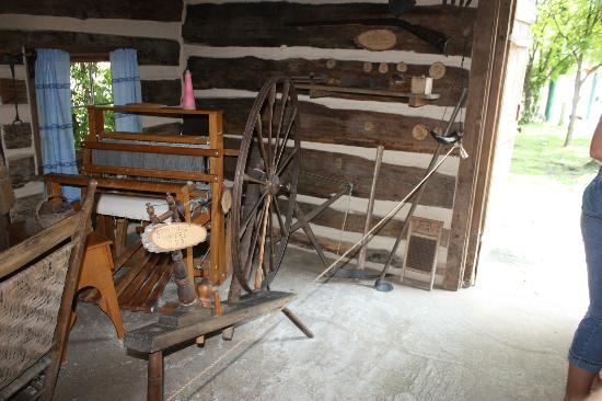Historic Ogle Log Cabin : Inside the Ogle Log Cabin. Spinning Wheel.