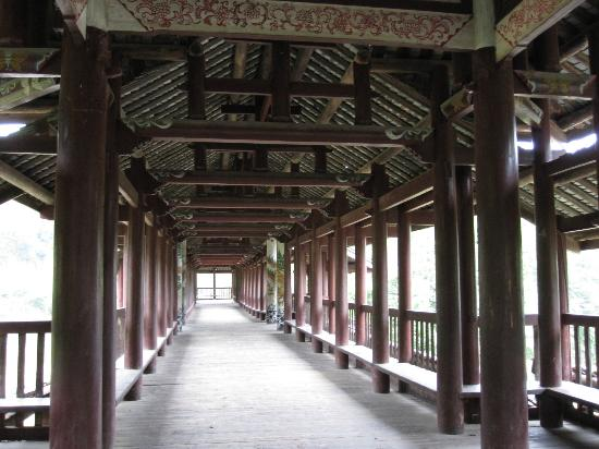 Liping county, China: Intérieur du pont