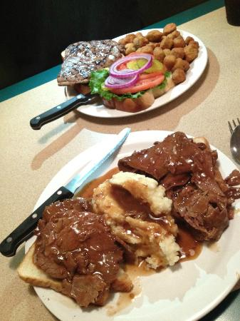 Black Bear Cafe: Ribeye sandwich with okra and open faced roast beef with mashed potatoes/gravy.  Yumm-O!