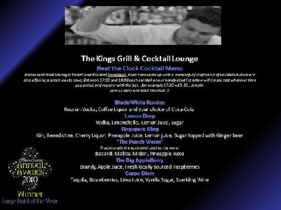 The Kings Grill and Cocktail Lounge: Beat the Clock Cocktail List