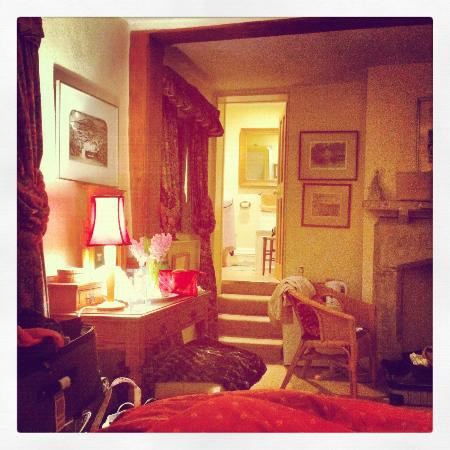 North Moreton House: I took this while sitting on one of the twin size beds, a view into the bathroom