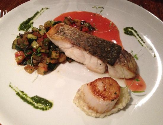 Bommie: Local barramundi with ratatouille, basil pesto and seared scallop