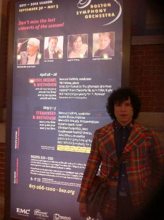Boston Symphony Orchestra : My husband Fernando in front of the BSO billboard for our concert, May 3, 2012.