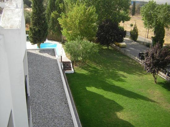 Villa Blanca: Jardín y vista de la piscina