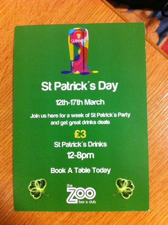 Zoo Bar: volantino St. Patrick's Day
