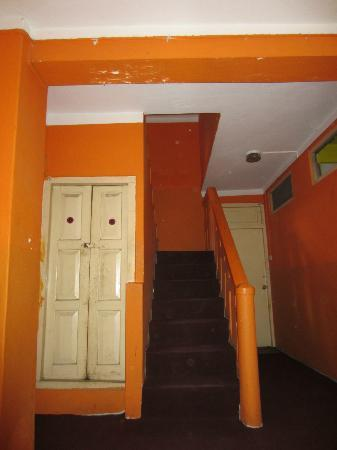 Holy Lodge: Back stairs up to some of the deluxe rooms